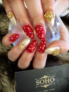 Nail_Salon_Soho_manicure_pedicure_kitsilano_vancouver_Pokadot red gold roses