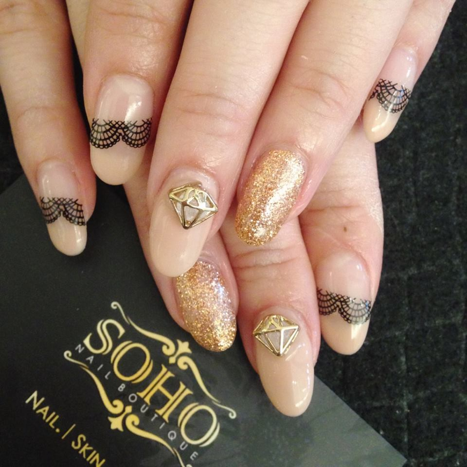 Soho_manicure_pedicure_kitsilano_vancouver_black_lace_Gold